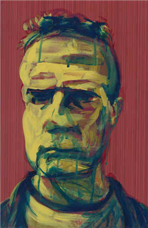 Self Portrait Yellow Blur, by Jeff Wrench, acrylic on wallpaper, 12x17 inches